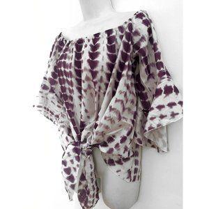 Tie Dye Off The Shoulder Blouse Top white/purple L